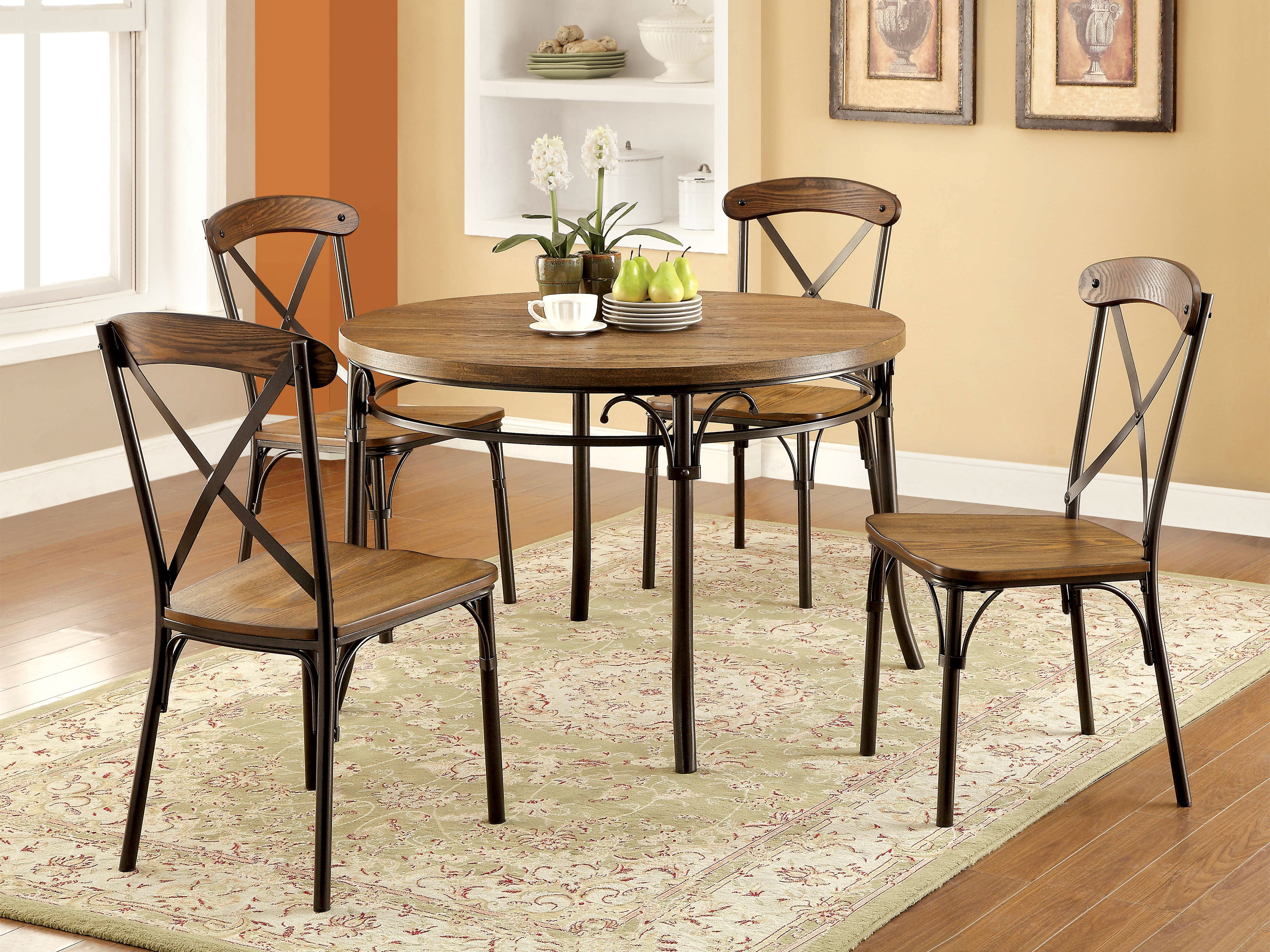 p P industrial kitchen table Furniture of America Bronzed Xallie 5 Piece Round Industrial Dining Set Home Furniture Dining Kitchen Furniture Dining Sets Collections