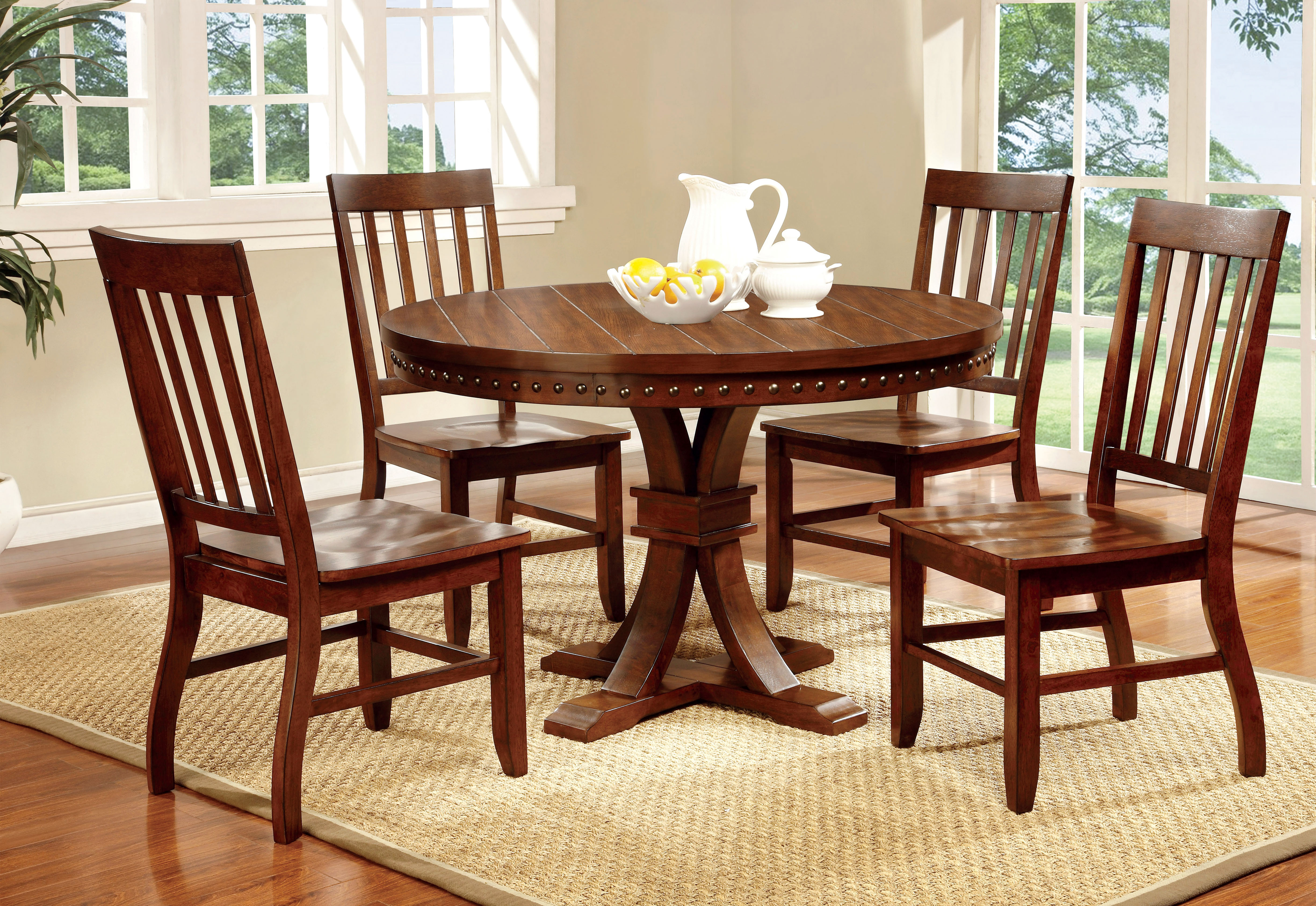 p P round kitchen table set Furniture of America Dark Oak Karl Rustic Round Dining Table Home Furniture Dining Kitchen Furniture Dining Tables