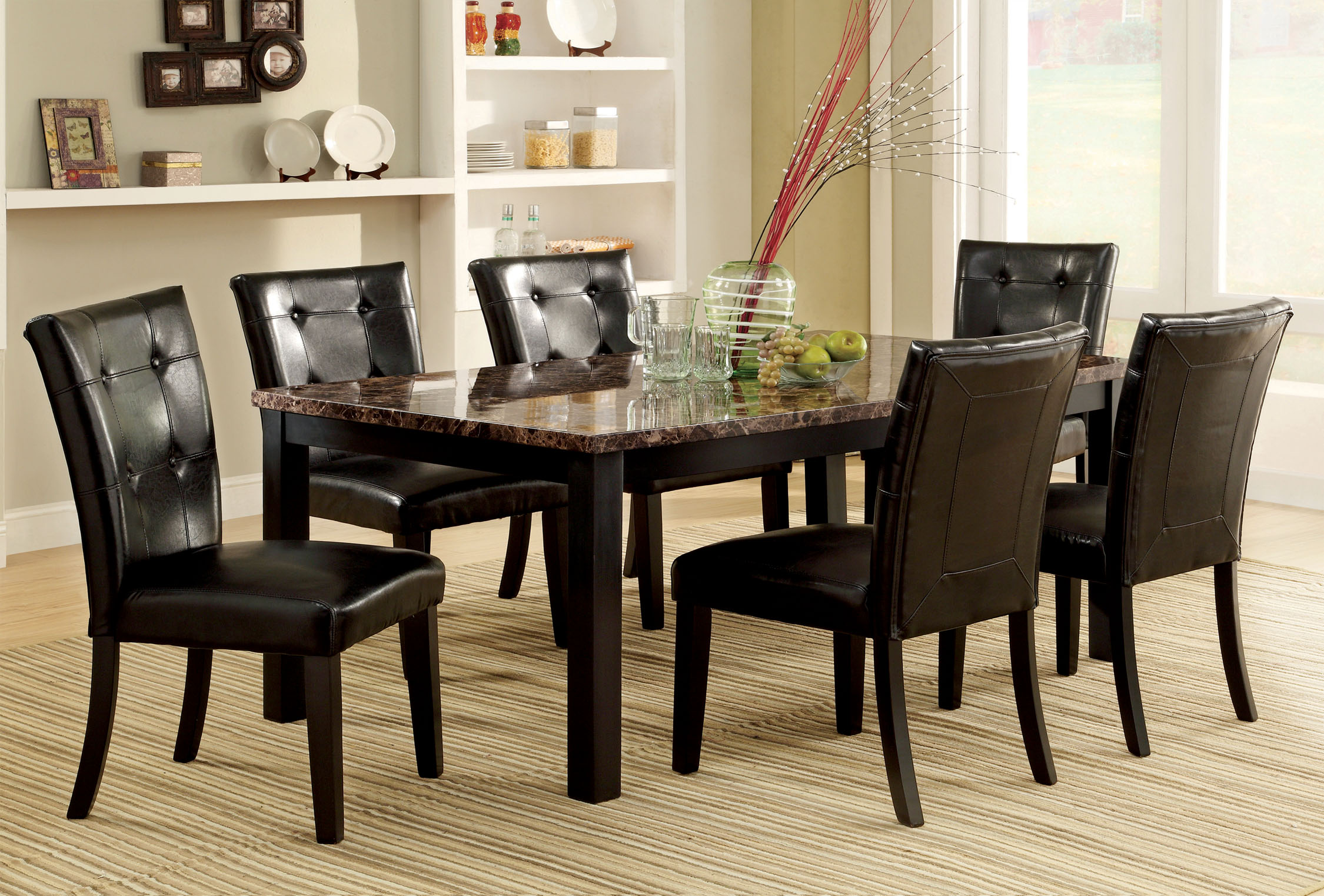 p P espresso kitchen table set Furniture of America Benning Heights 7 Piece Faux Marble Dining Set Home Furniture Dining Kitchen Furniture Dining Sets Collections