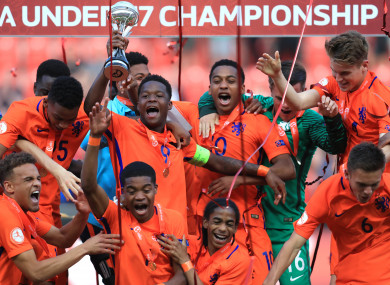 Dutch lift U17 European championship after yet another penalty shootout Captain Daishawn Redan lifts the trophy alongside his team mates