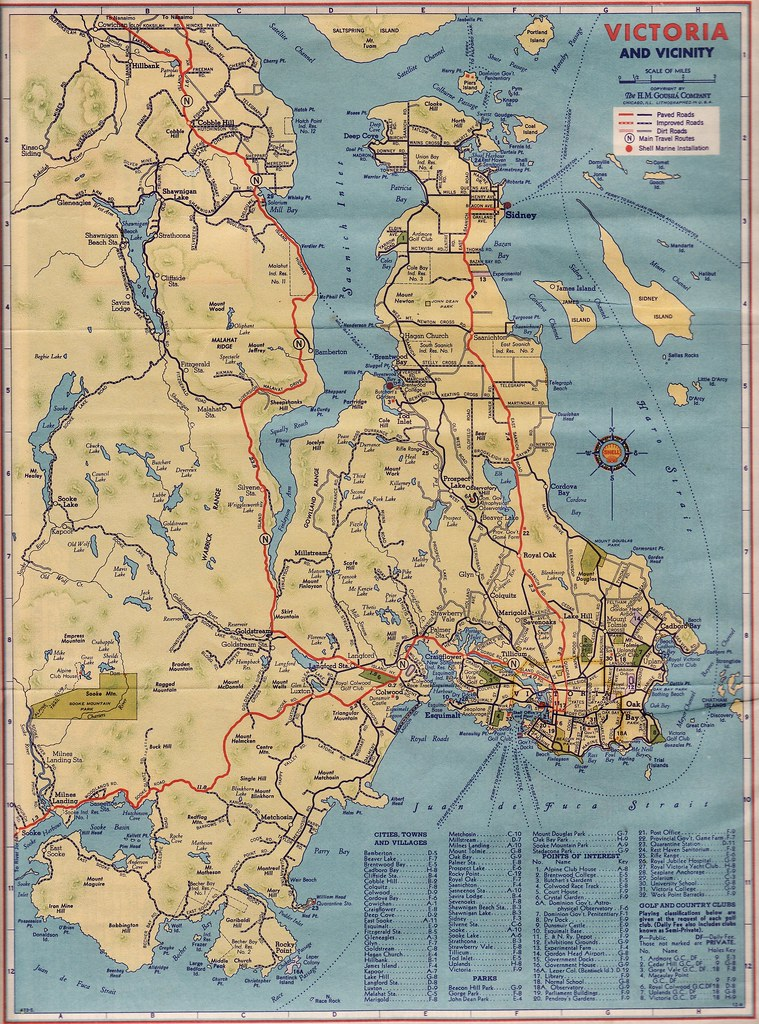 Road Map  Victoria and Vicinity  1940   Shell Oil  Victoria       Flickr     Road Map  Victoria and Vicinity  1940   by blizzy63