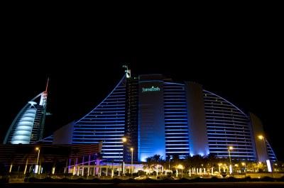 Jumeirah Beach Hotel | JBH by night as well as Burj Al ...