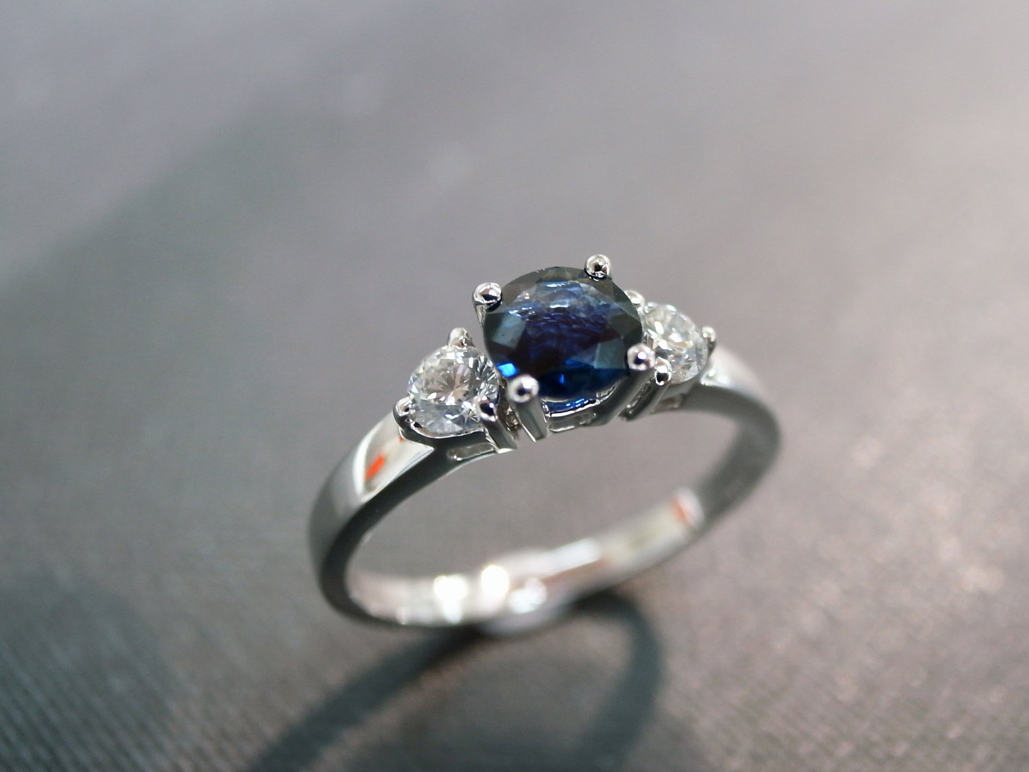 engagement ring with diamond and blue sapphire in 14k white gold blue sapphire wedding rings Engagement Ring with Diamond and blue Sapphire in 14K White Gold