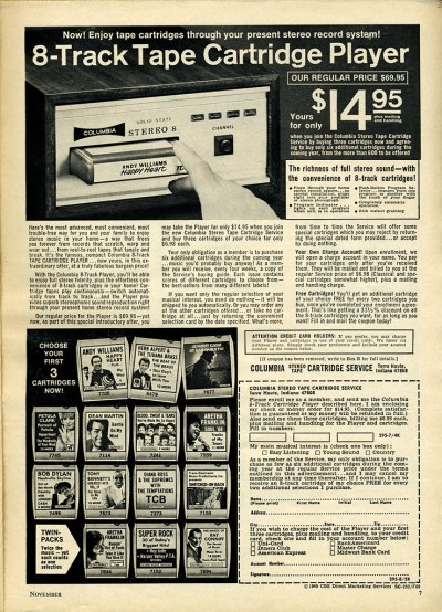 1969 Columbia 8 Track Cartridge Service | You got a ...