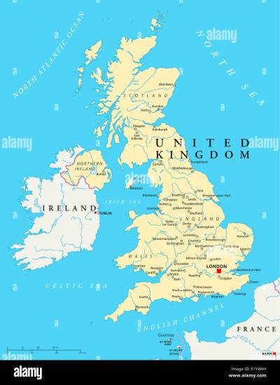 United Kingdom Political Map with capital London, national borders Stock Photo: 70068617 - Alamy