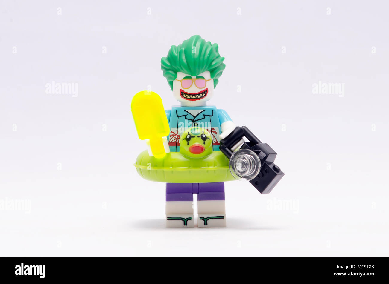 MALAYSIA  jan 21  2018  batman and joker holding ice cream  Lego     MALAYSIA  jan 21  2018  batman and joker holding ice cream  Lego  minifigures are manufactured by The Lego Group