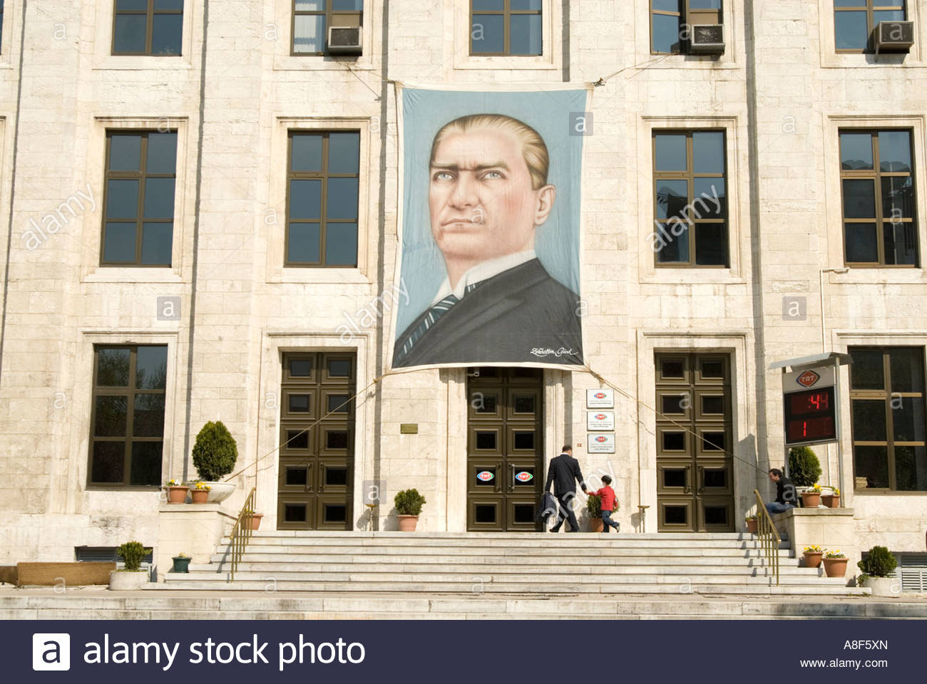 Portrait of Kemal Ataturk on building of the Turkish Radio and Stock     Portrait of Kemal Ataturk on building of the Turkish Radio and Television  Corporation or TRT  Istanbul  Turkey