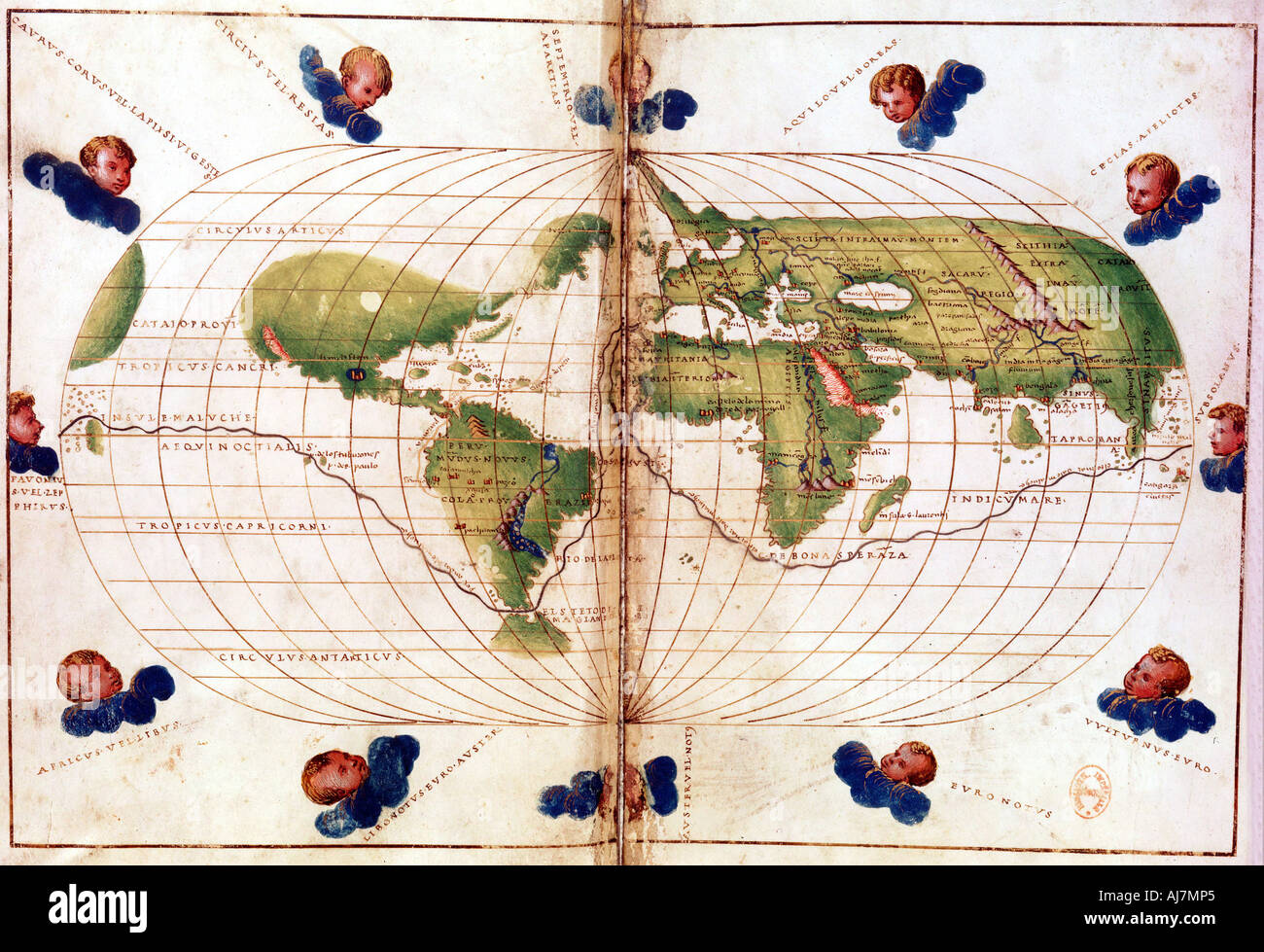 Map of Magellan s round the world voyage 1519 1521 Stock Photo     Map of Magellan s round the world voyage 1519 1521