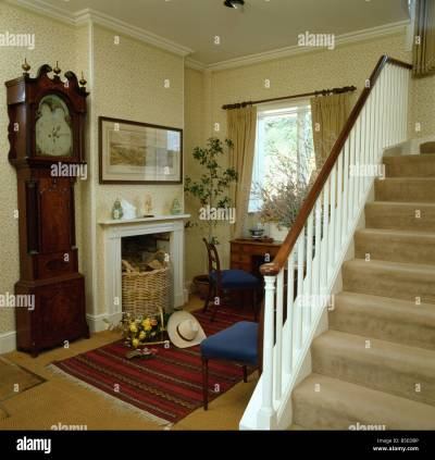 Antique longcase clock beside fireplace in small cream cottage hall Stock Photo: 20601498 - Alamy
