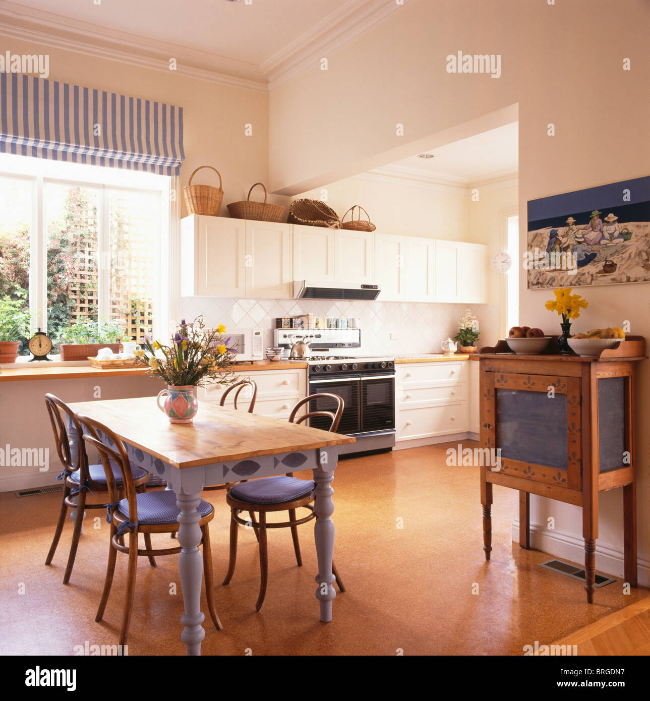 cork flooring in modern kitchen dining room with bentwood chairs with BRGDN7