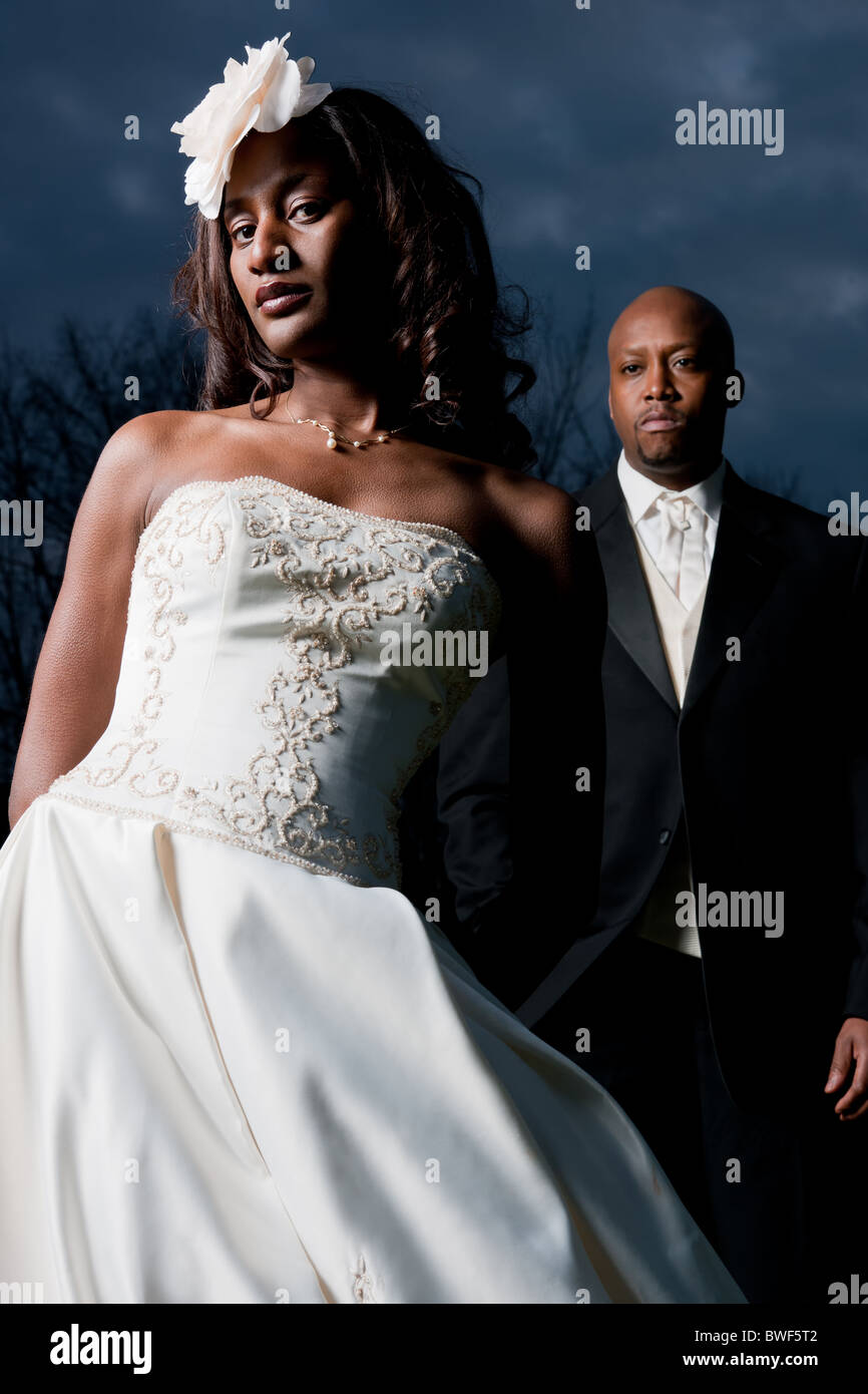 stock photo african american wedding couple with dress and tuxedo african american wedding dresses African American Wedding couple with Dress and Tuxedo