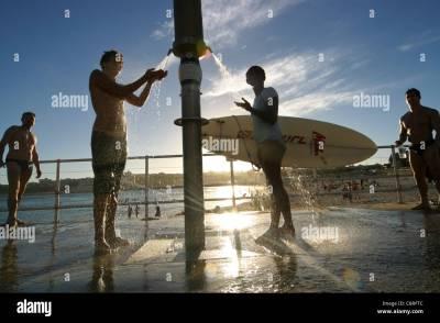 Beach shower at Bondi Beach lifestyle. Australia Stock ...