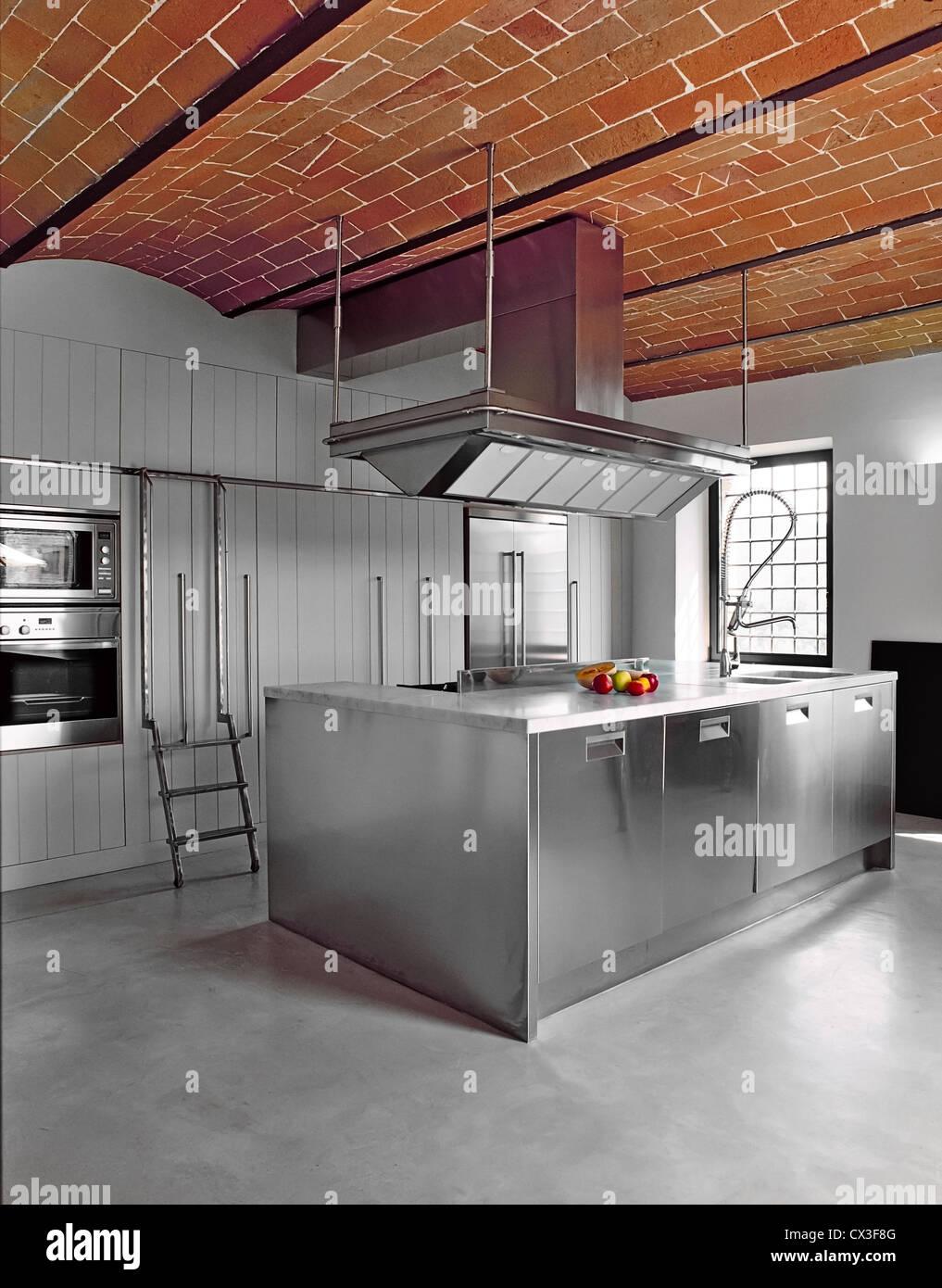 stock photo modern kitchen with concrete floor and bricks vaults concrete kitchen floor Stock Photo modern kitchen with concrete floor and bricks vaults