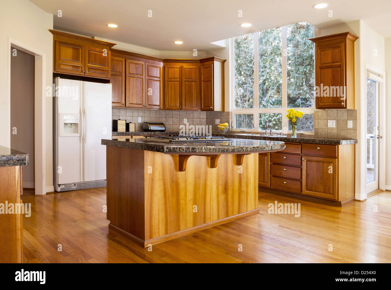 modern daylight kitchen with solid red oak flooring cherry wood cabinets D254X0