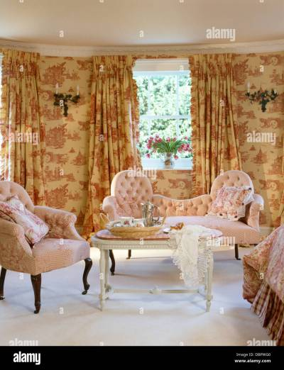 Pink Toile-de-Jouy curtains and matching wallpaper in townhouse Stock Photo, Royalty Free Image ...