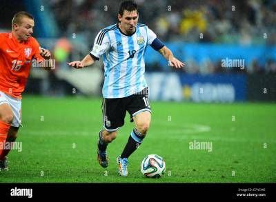 Lionel Messi. Argentina v Holland. Semi-Final World Cup 2014 Brazil Stock Photo: 73615178 - Alamy