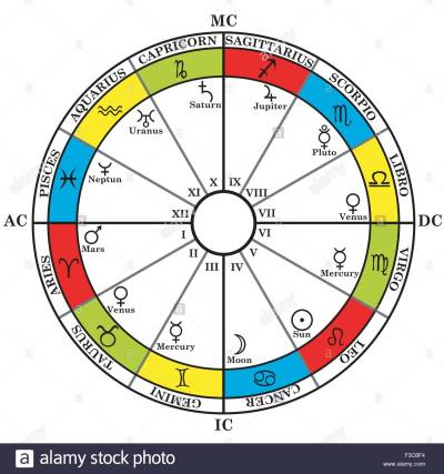 Astrology zodiac with natal chart, zodiac signs, houses and planets Stock Vector Art ...