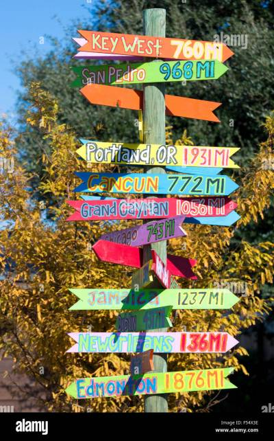 Bright color jokey fun direction signpost with distances for far Stock Photo: 89233410 - Alamy