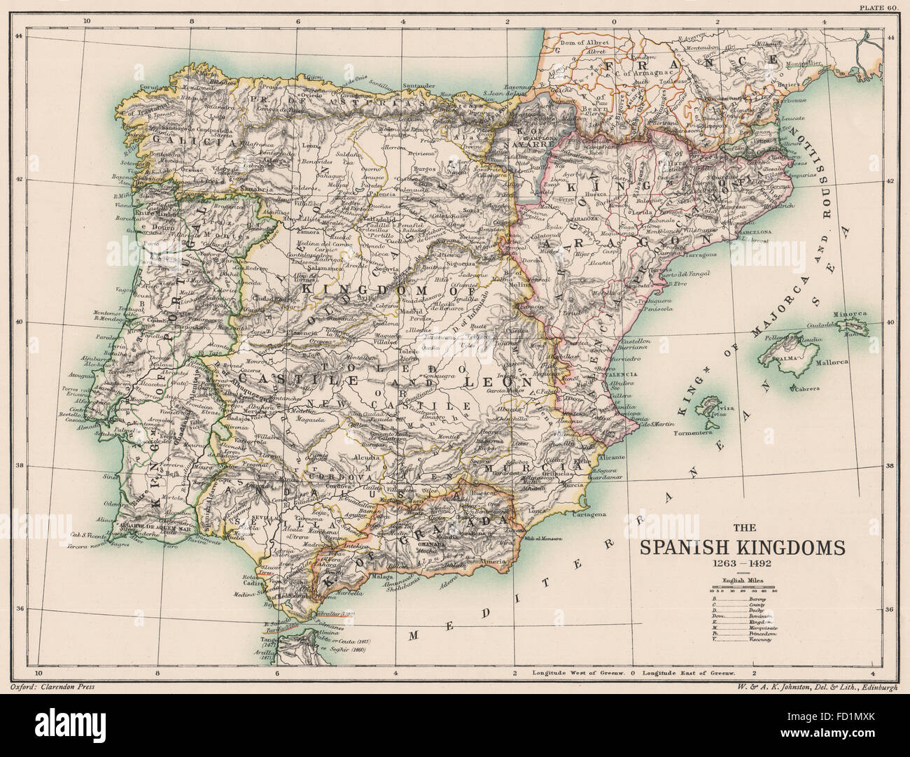 IBERIA  Spain  The Spanish Kingdoms 1263 1492  Portugal  1902     IBERIA  Spain  The Spanish Kingdoms 1263 1492  Portugal  1902 antique map