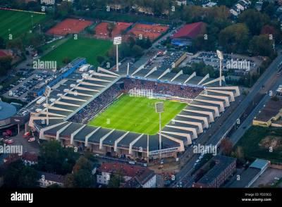 Aerial view, rewirpowerSTADION Bochum VfL Bochum against 1.FC Stock Photo, Royalty Free Image ...