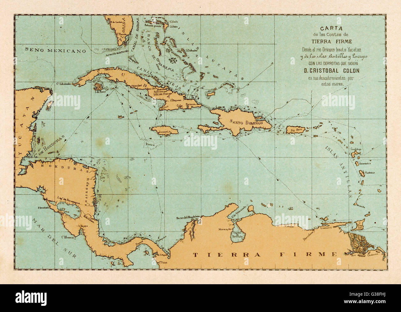 A map showing the travels of Columbus in the Caribbean Date Stock     A map showing the travels of Columbus in the Caribbean Date  1492   1502