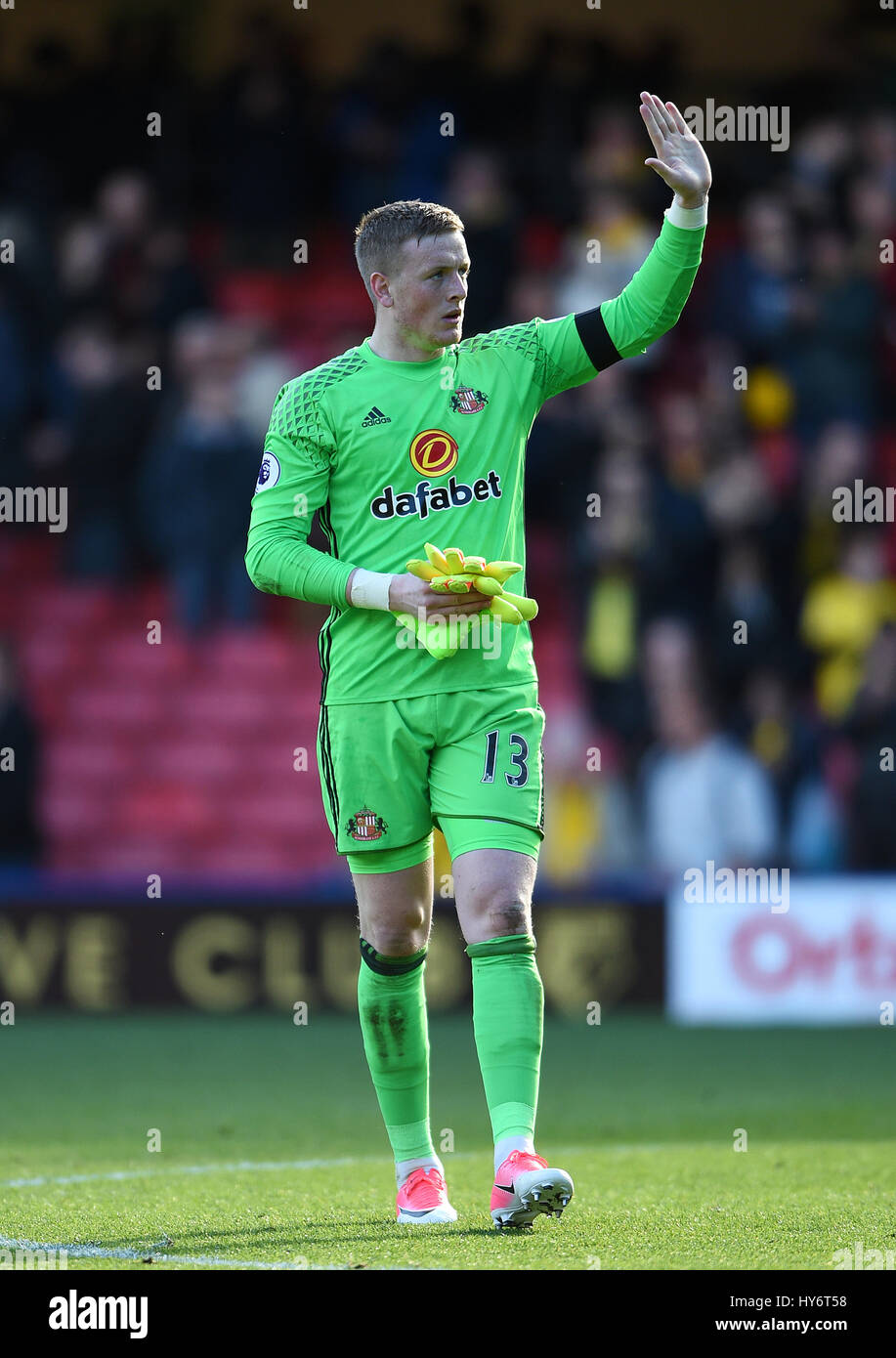 Sunderland goalkeeper Jordan Pickford after the Premier League match     Sunderland goalkeeper Jordan Pickford after the Premier League match at  Vicarage Road  Watford