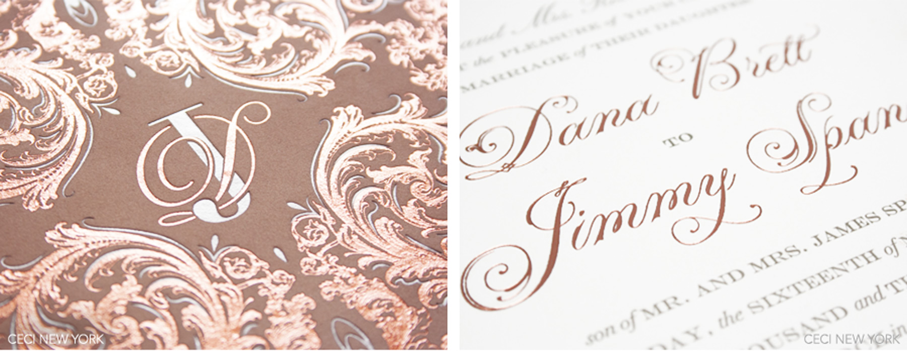 v our muse romantic rose gold wedding dana jimmy part 1 rose gold wedding invitations Luxury Wedding Invitations by Ceci New York Our Muse Romantic Rose Gold Wedding
