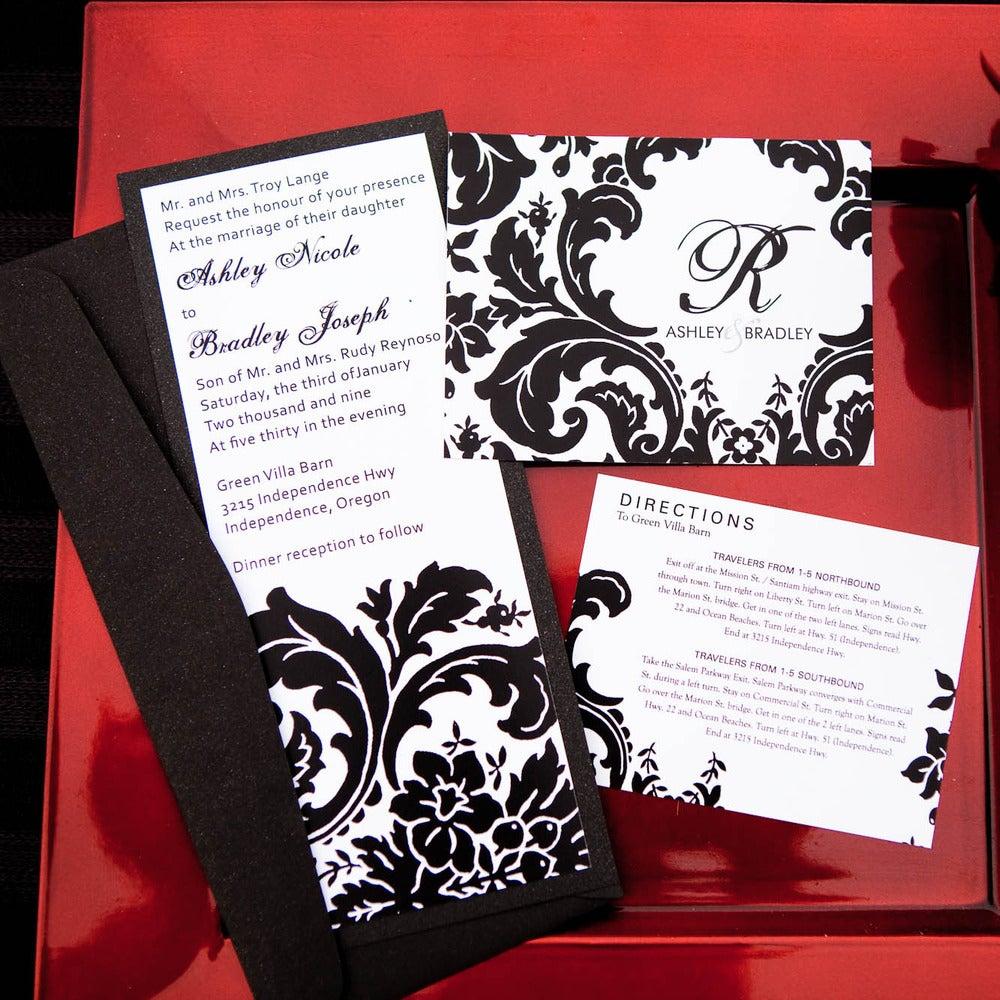 red black white damask wedding invitations damask wedding invitations Damask Wedding Invitations Michaels Homemade Rustic