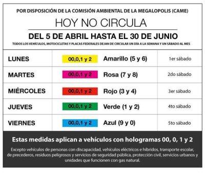 Calendario Hoy No Circula 2019 - CalendarioLaboral.com.mx