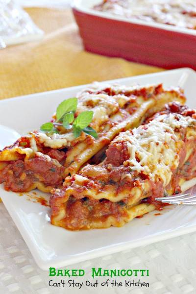 Baked Manicotti - Can't Stay Out of the Kitchen
