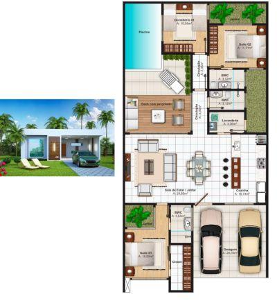 Plantas de casas com 3 quartos: 37 inspirações e projetos grátis!