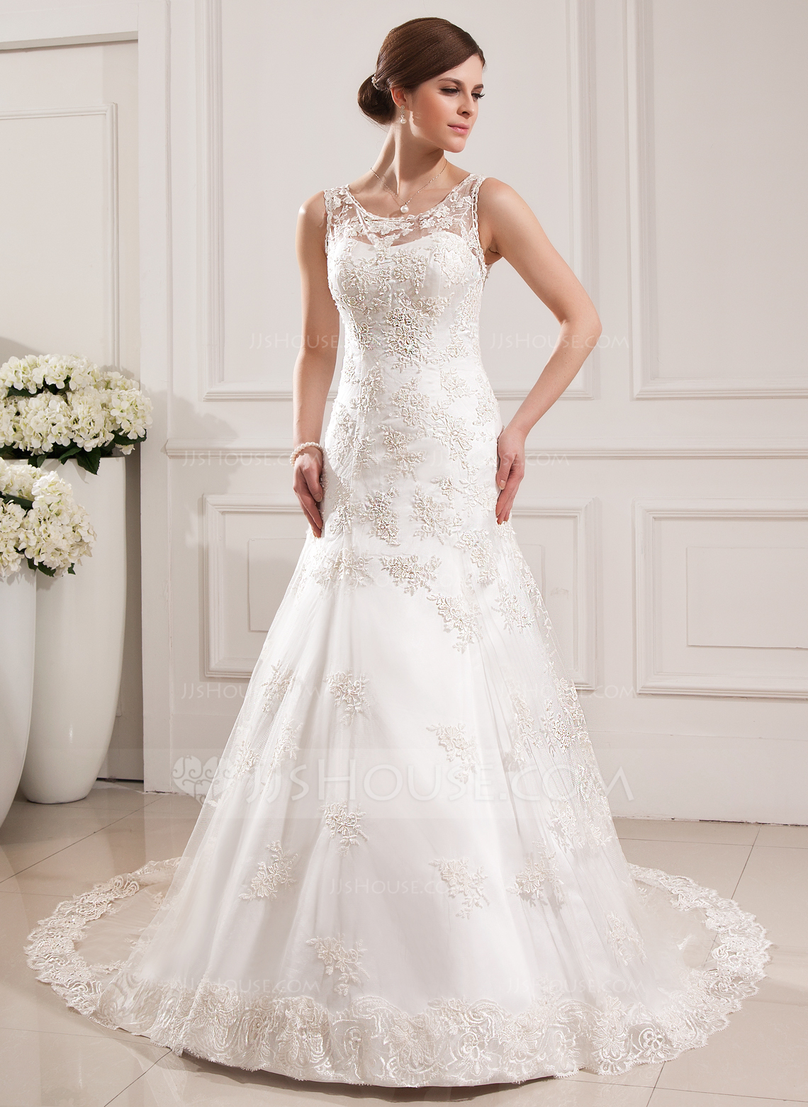 Trumpet Mermaid Scoop Neck Cathedral Train Tulle Wedding Dress With Appliques Lace g jjs house wedding dresses Home Wedding Dresses Loading zoom