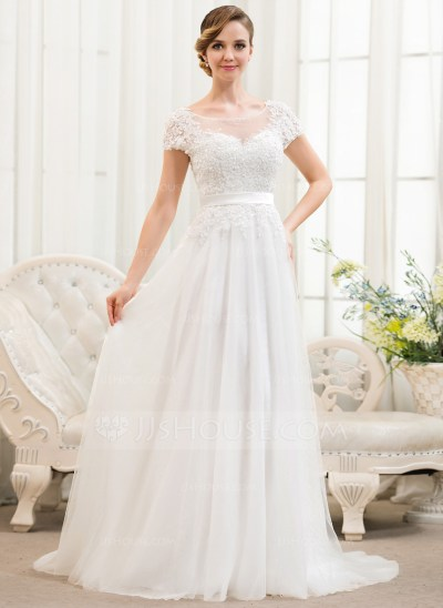 A-Line/Princess Scoop Neck Sweep Train Tulle Lace Wedding ...
