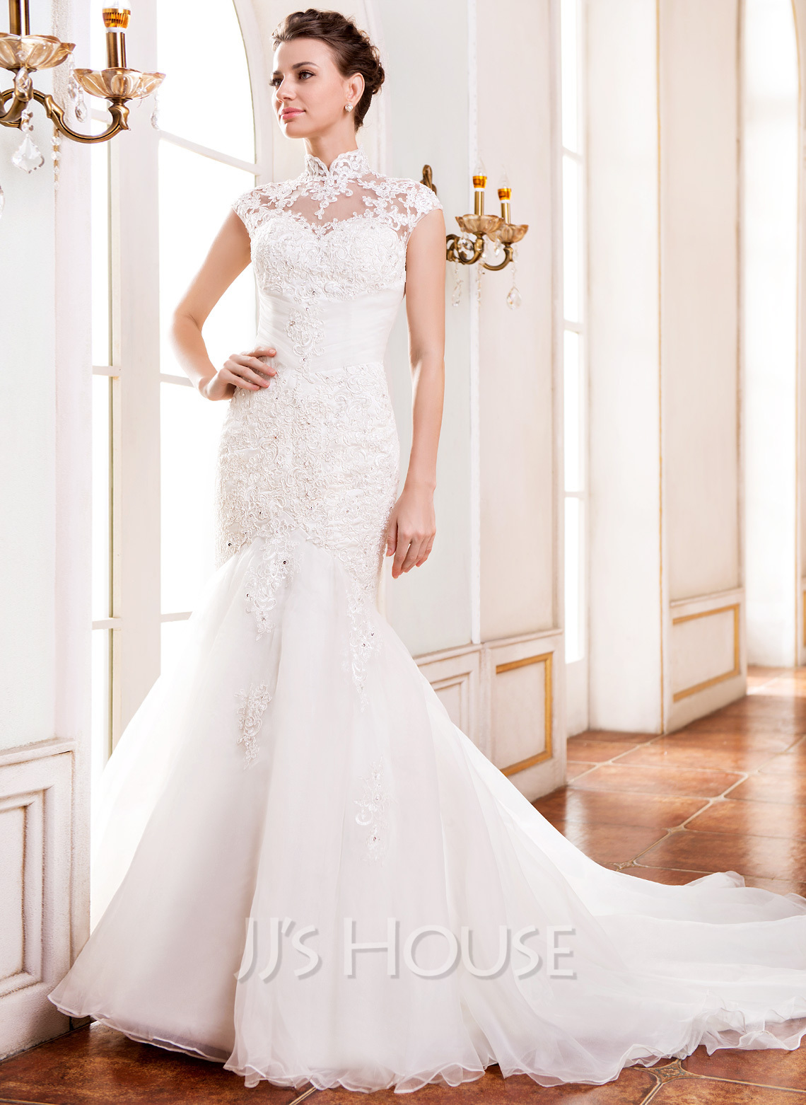 Trumpet Mermaid High Neck Cathedral Train Organza Lace Wedding Dress With Beading Sequins g jjs house wedding dresses Home Wedding Dresses Loading zoom