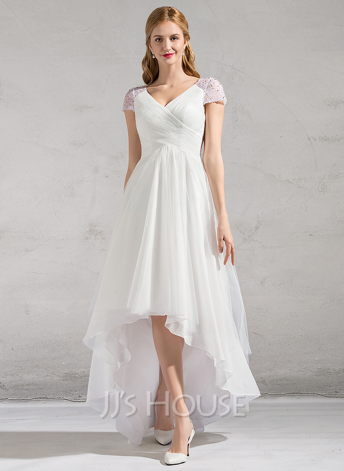 Beach p wedding dress with feathers A Line Princess V neck Asymmetrical Tulle Wedding Dress With Ruffle Beading Sequins