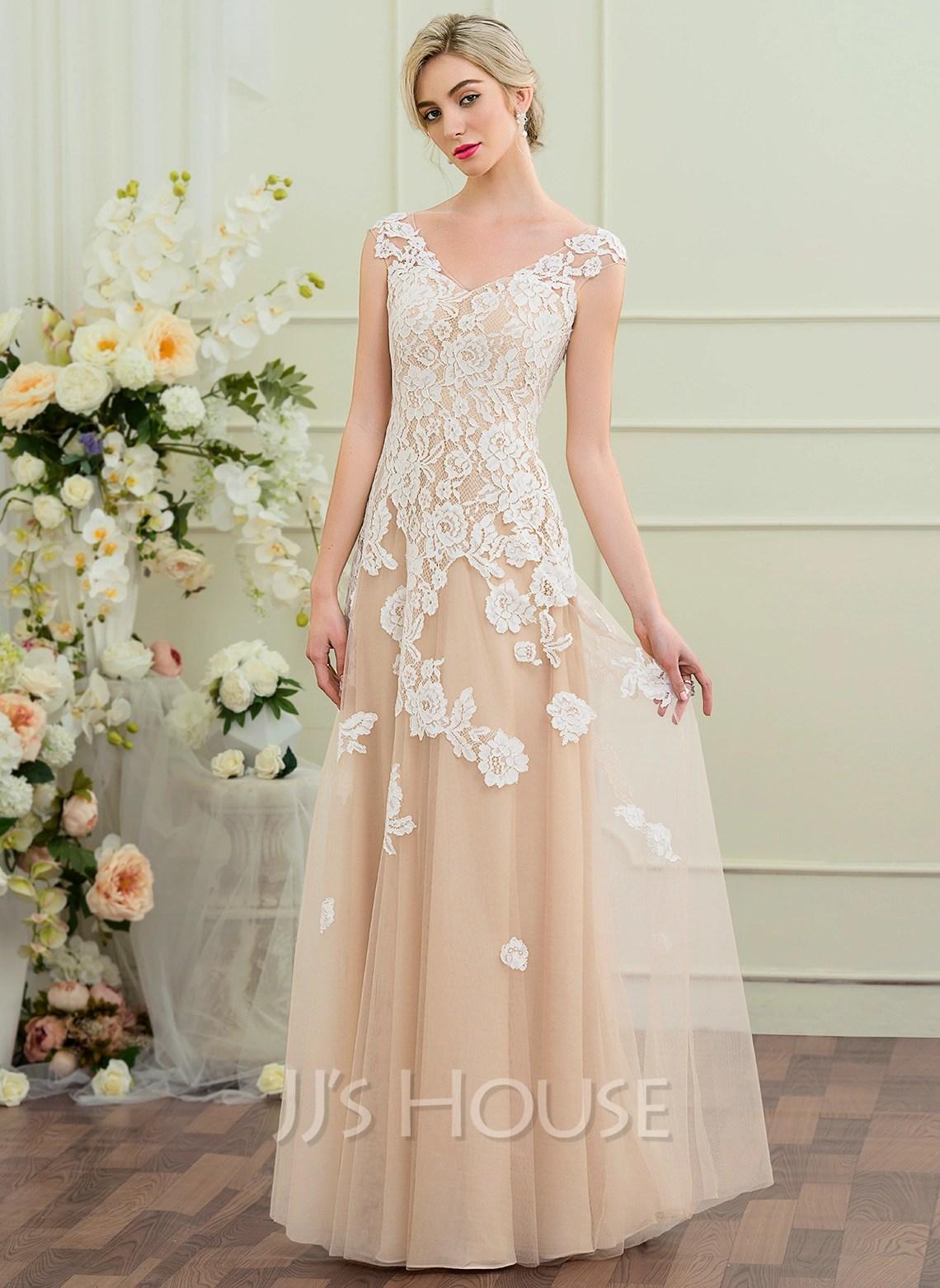 Cheap Wedding Dresses c2 discounted wedding dresses A Line Princess V neck Floor Length Tulle Wedding Dress
