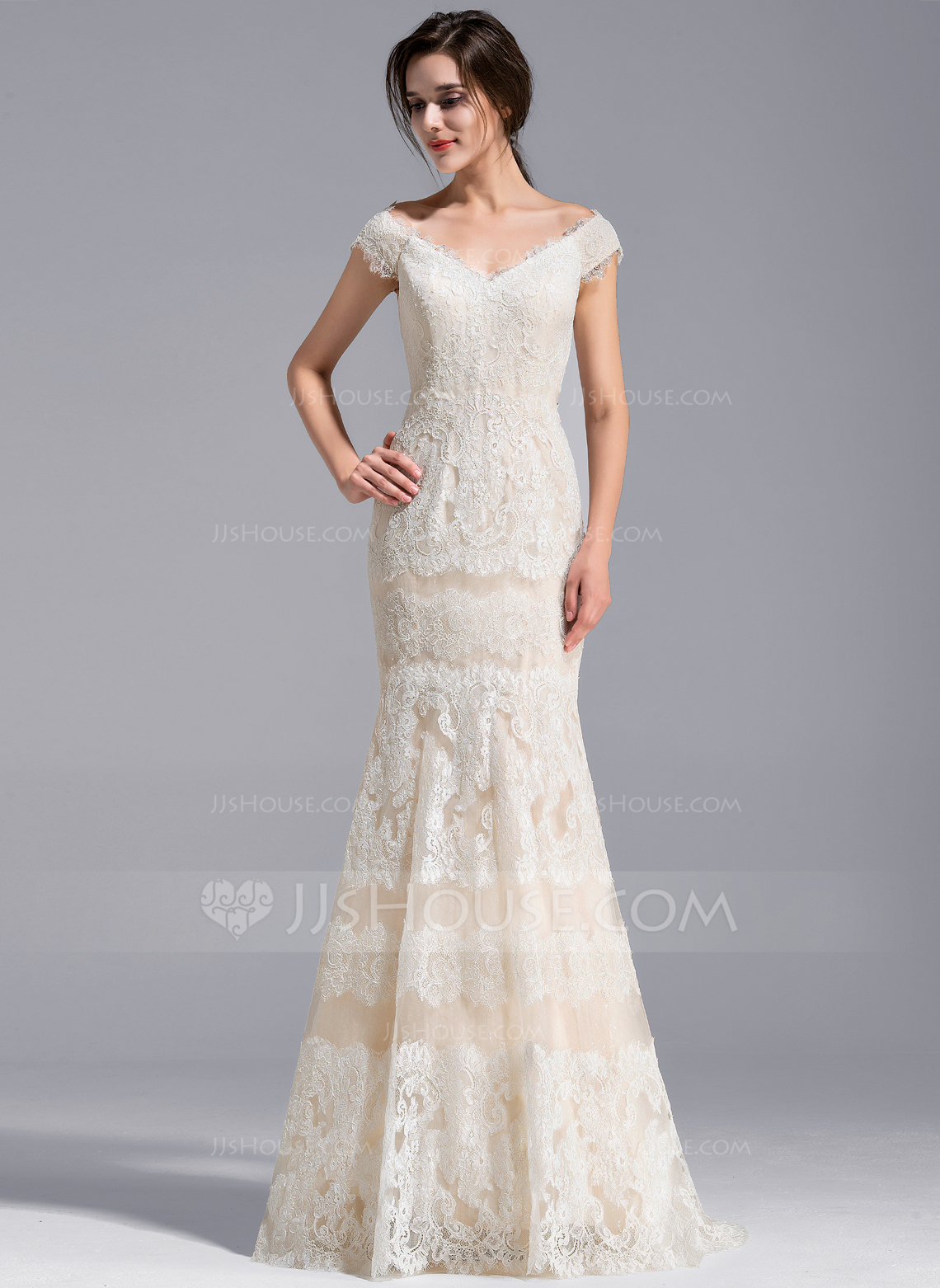 Trumpet Mermaid Off The Shoulder Sweep Train Lace Wedding Dress g jjs house wedding dresses Home Wedding Dresses Loading zoom