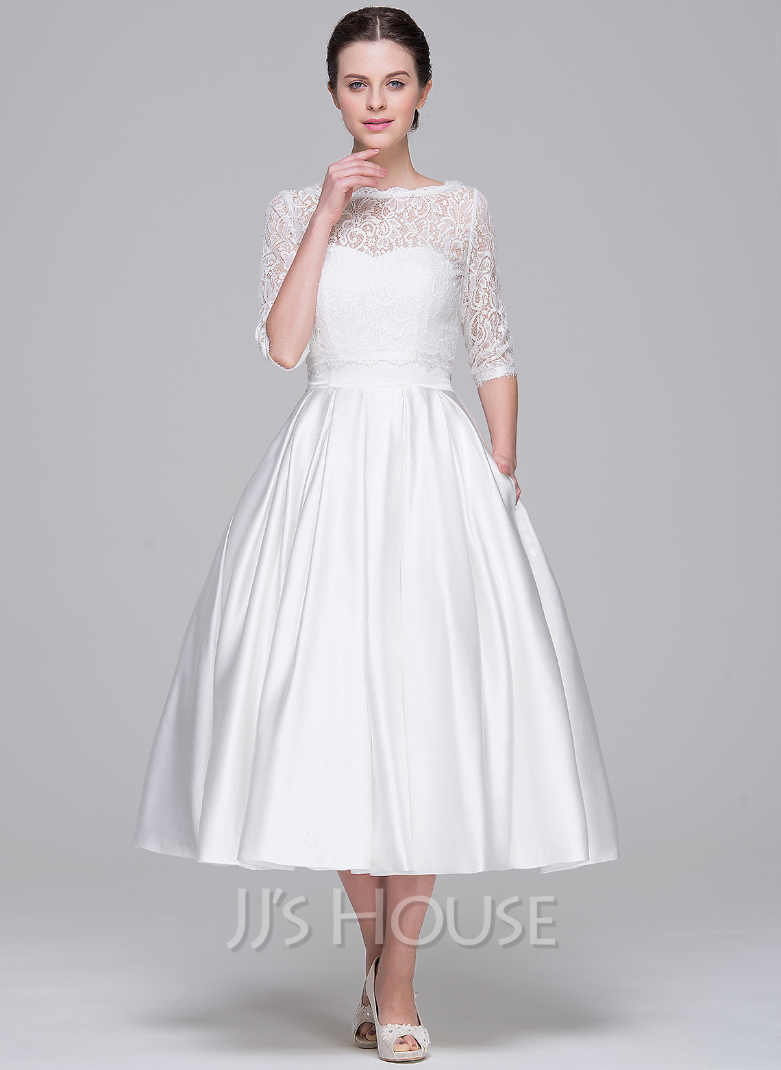 A Line Princess Sweetheart Tea Length Satin Wedding Dress g jjs house wedding dresses Home Wedding Dresses Loading zoom
