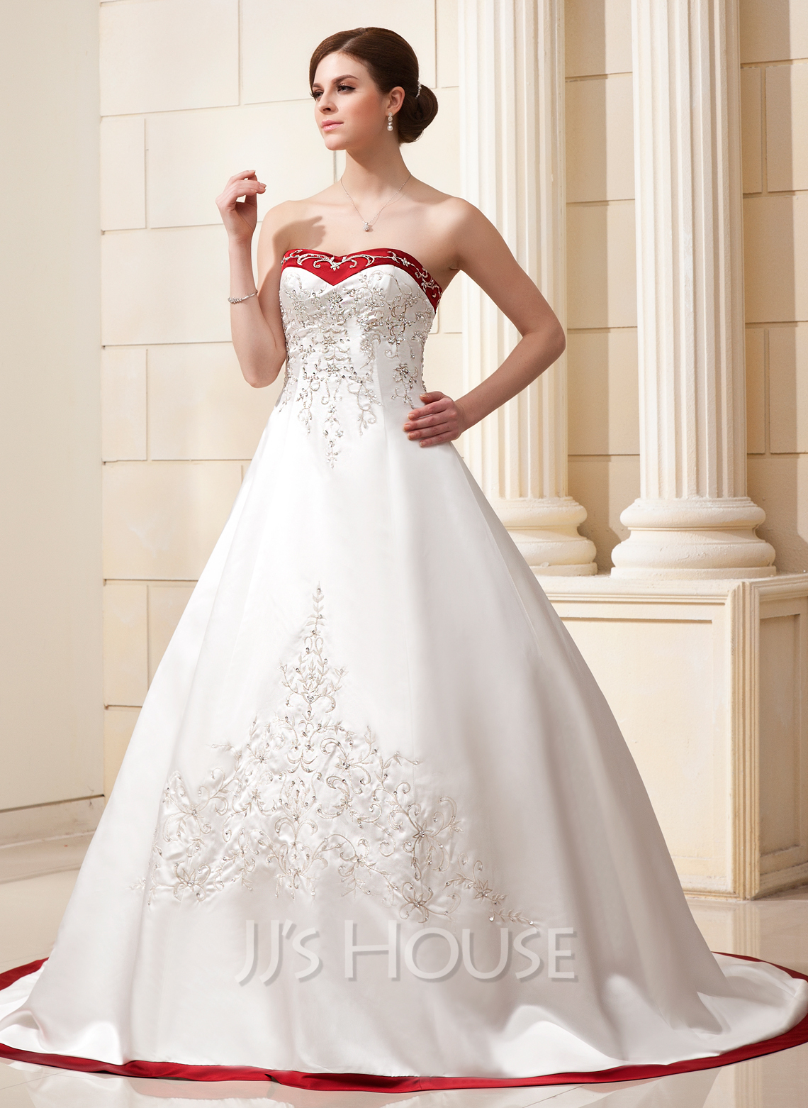 Ball Gown Sweetheart Chapel Train Satin Wedding Dress With Embroidered Sash Beading Sequins g jjs house wedding dresses Home Wedding Dresses Loading zoom