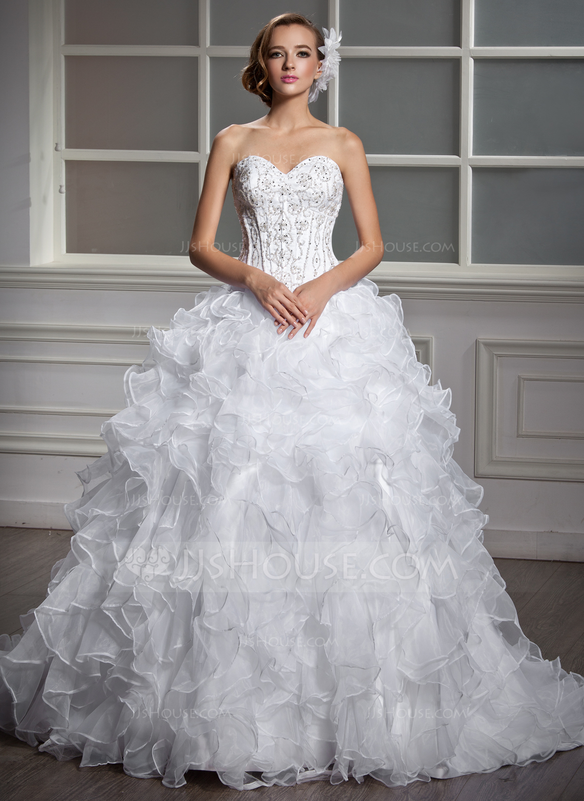 Ball Gown Sweetheart Court Train Satin Organza Wedding Dress With Beading Sequins Cascading Ruffles g jjs house wedding dresses Home Wedding Dresses Loading zoom