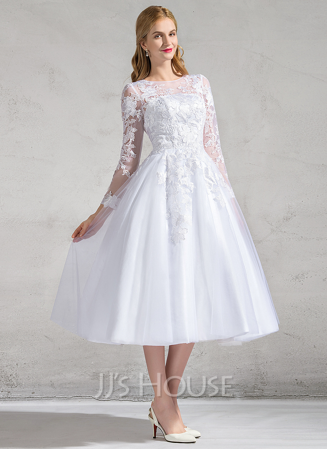 A Line Princess Scoop Neck Tea Length Tulle Lace Wedding Dress With Appliques Lace g jjs house wedding dresses Home Wedding Dresses Loading zoom