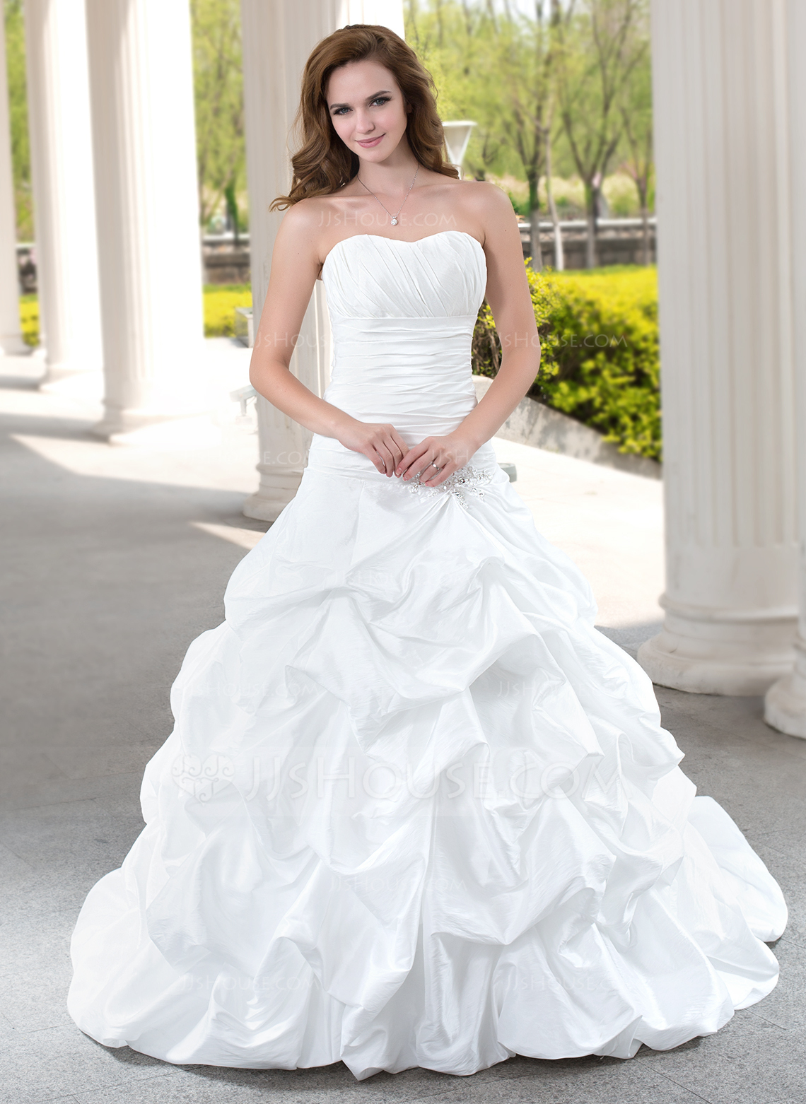 Ball Gown Sweetheart Chapel Train Taffeta Wedding Dress With Ruffle Beading Appliques Lace g jjs house wedding dresses Home Wedding Dresses Loading zoom