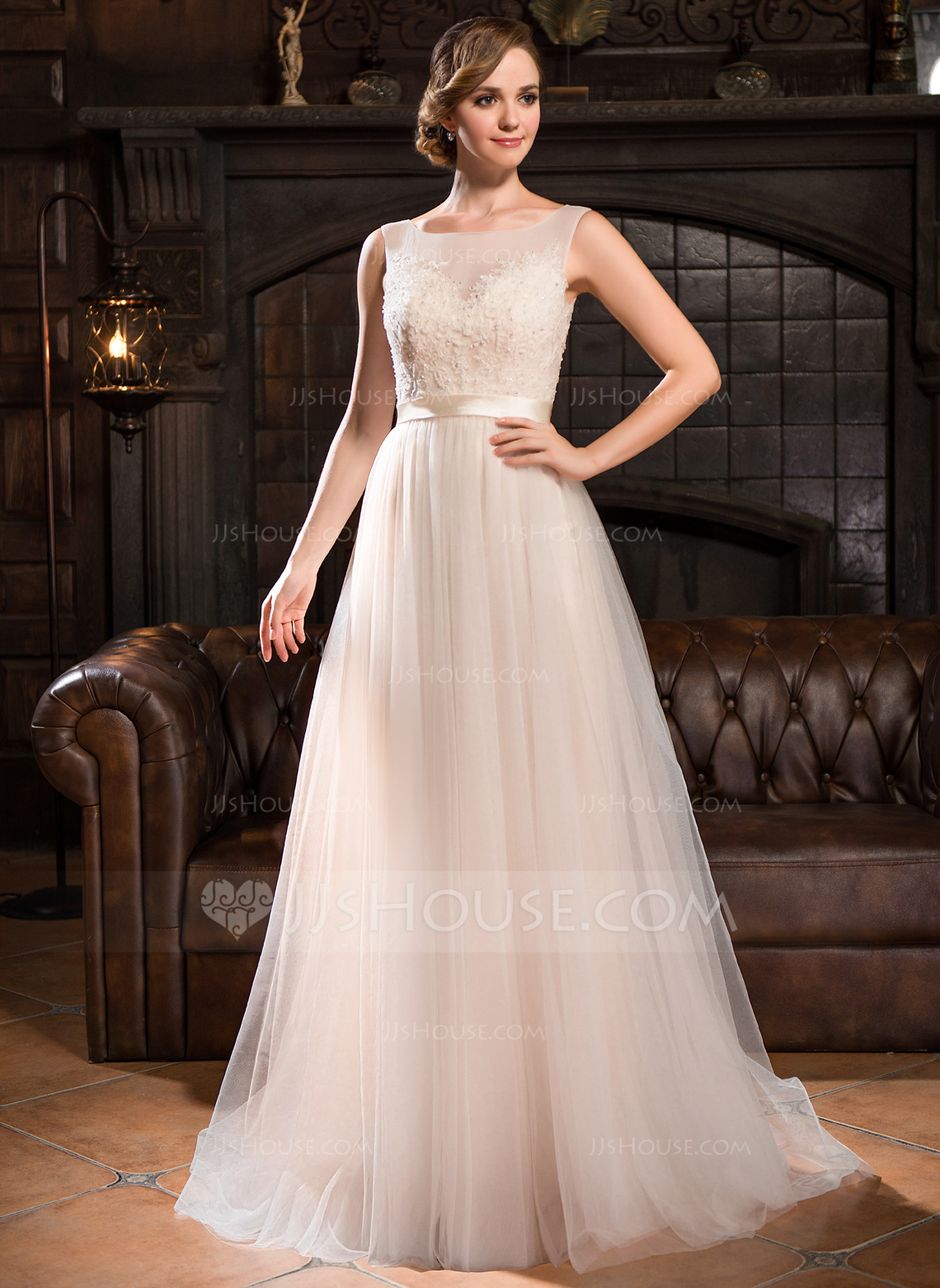 A Line Princess Scoop Neck Sweep Train Tulle Lace Wedding Dress With Beading Sequins g jjs house wedding dresses Home Wedding Dresses Loading zoom