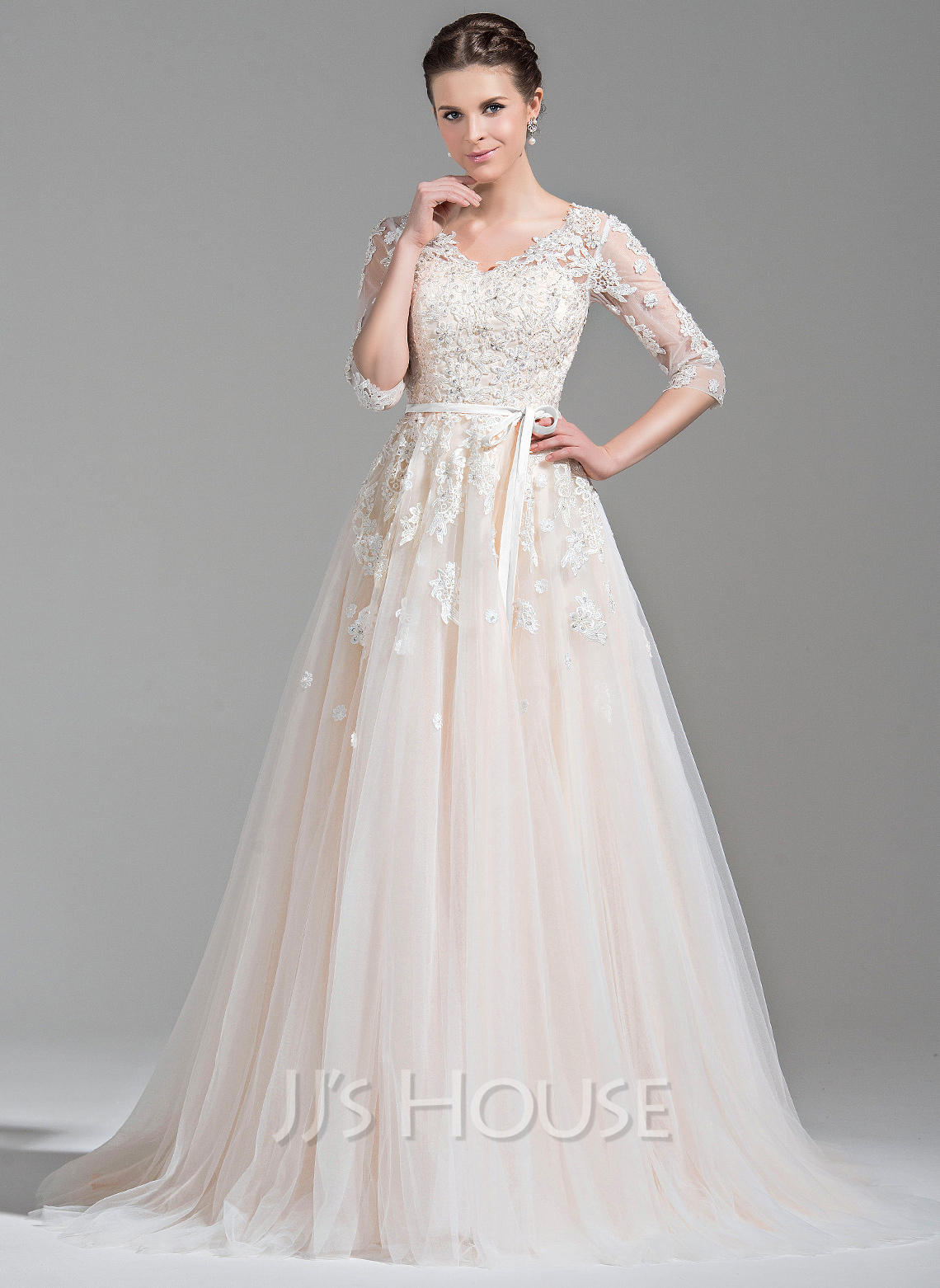 Cheap Wedding Dresses c2 jjs house wedding dresses Ball Gown V neck Court Train Tulle Wedding Dress With Beading Appliques Lace Sequins