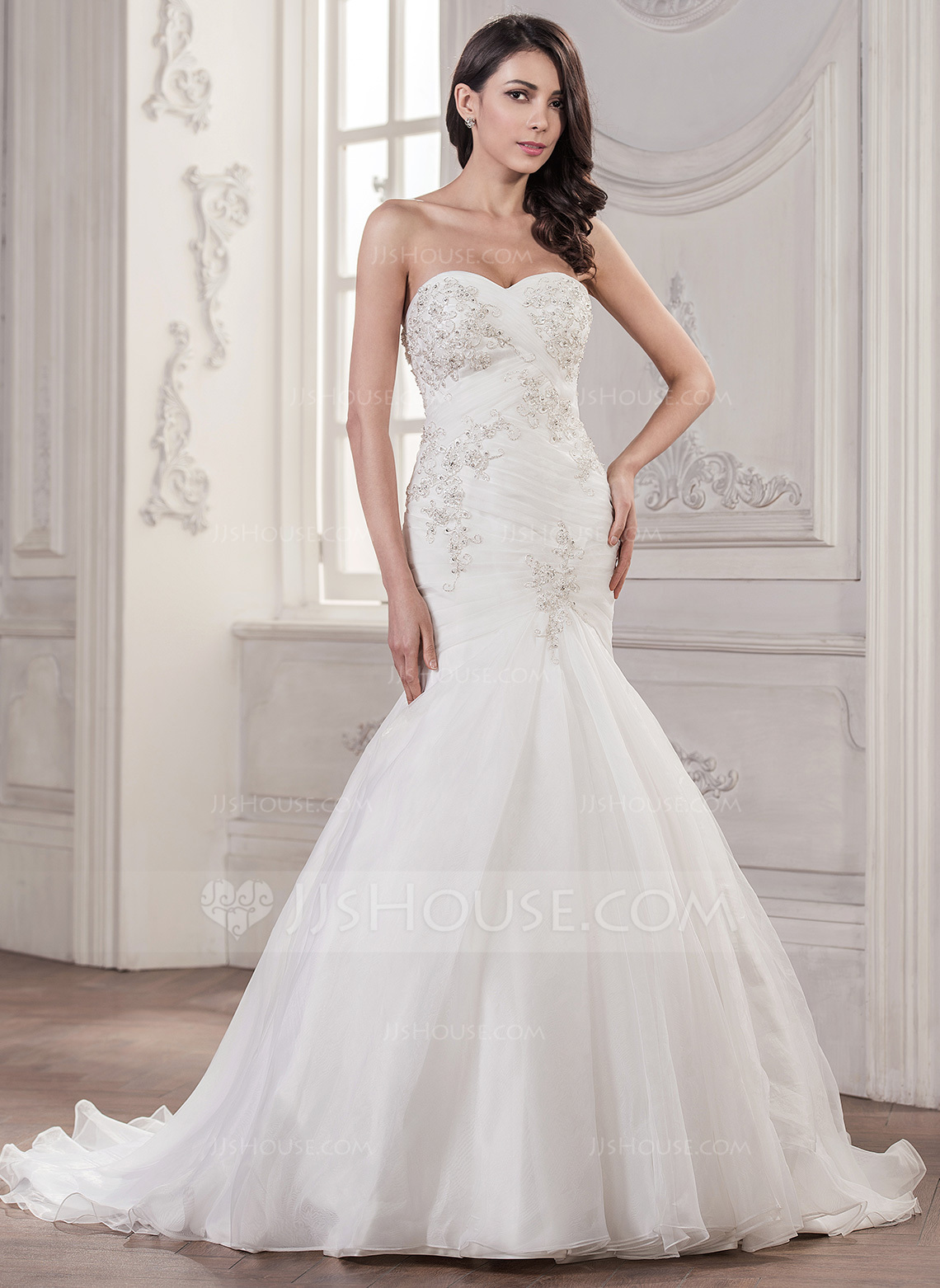 wedding dresses trumpet trumpet wedding dress Trumpet Mermaid Sweetheart Court Train Organza Wedding Dress With