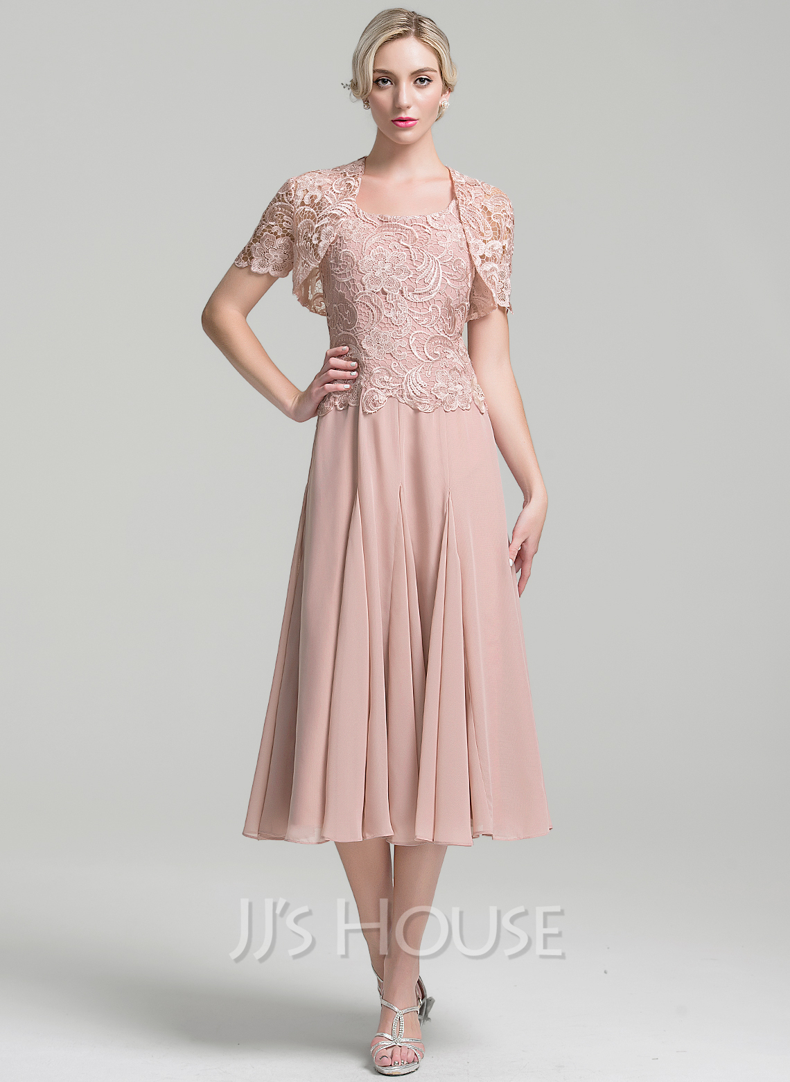 A Line Princess Square Neckline Tea Length Chiffon Mother Of The Bride Dress g jjs house wedding dresses Loading zoom