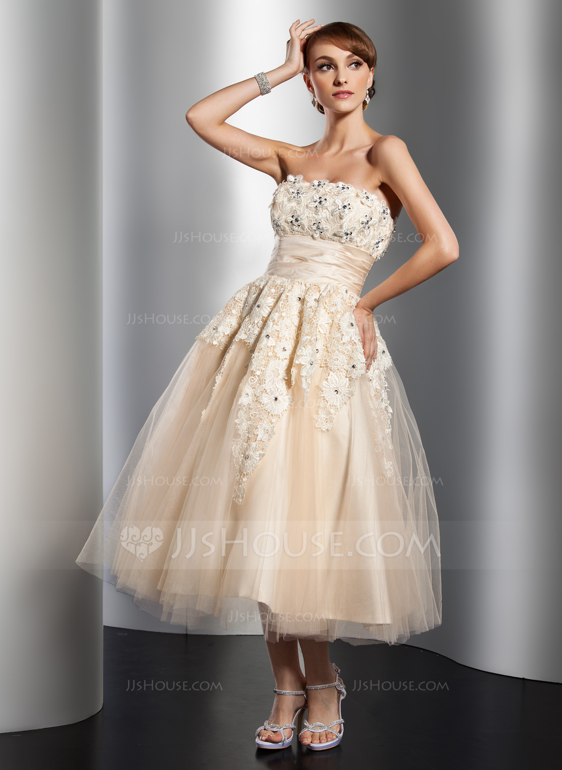 A Line Princess Strapless Tea Length Tulle Wedding Dress With Ruffle Lace Beading Flower S g ruffle wedding dress Home Wedding Dresses Loading zoom