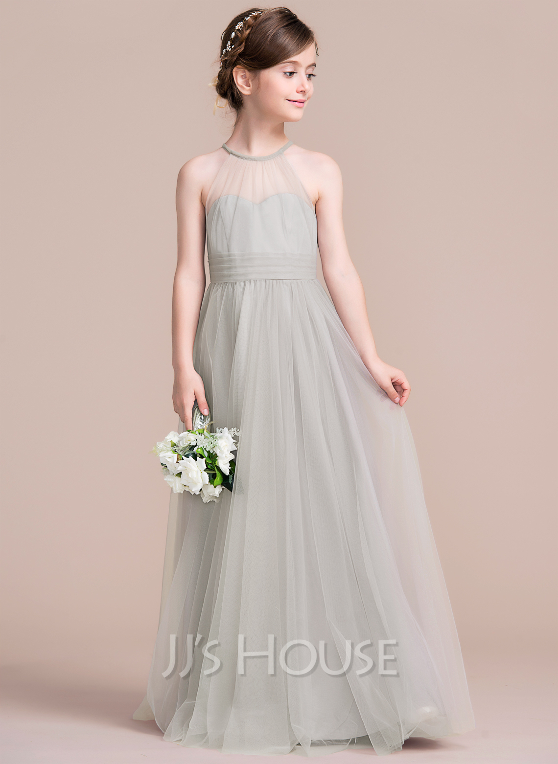 A Line Princess Scoop Neck Floor Length Tulle Junior Bridesmaid Dress With Ruffle g jjs house wedding dresses Junior Bridesmaid Dresses Loading zoom