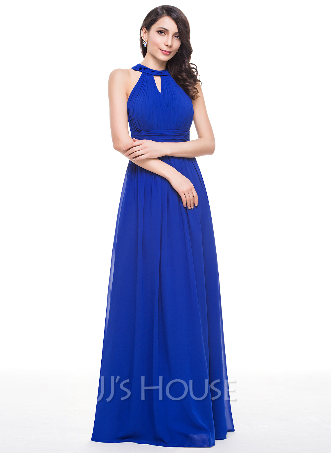A Line Princess Scoop Neck Floor Length Chiffon Bridesmaid Dress With Ruffle g jjs house wedding dresses Bridesmaid Dresses Loading zoom