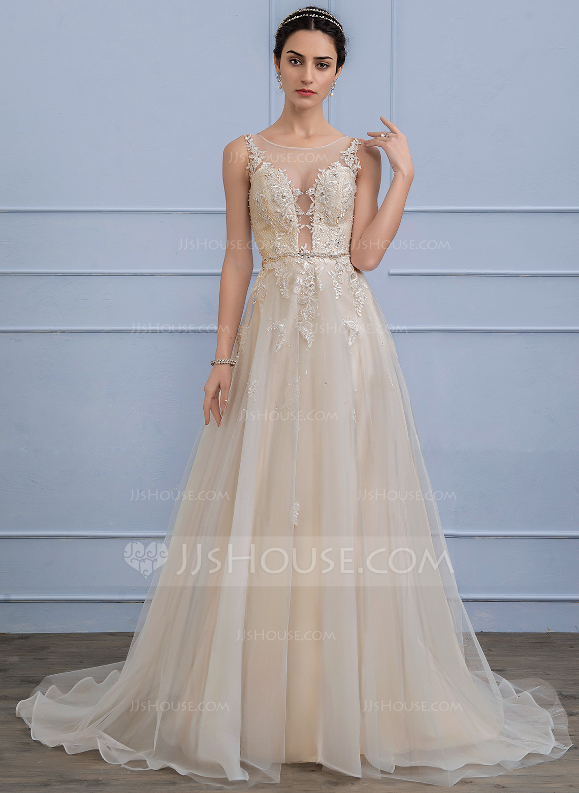 Cheap Wedding Dresses c2 jjs house wedding dresses A Line Princess Scoop Neck Sweep Train Tulle Lace Wedding Dress With Beading Sequins